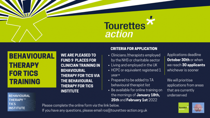 Tourettes Action Behavioural Therapy Training Grant